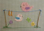 Vögel auf Leine mit Wäsche - Applikation, Stickdateien, Stickmuster