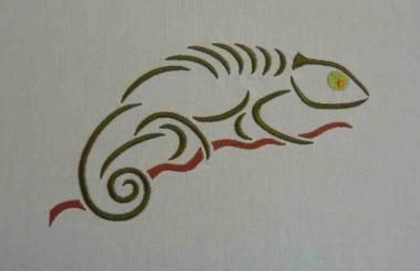 Chameleon 13x18 bunt - Stickdateien, Stickmuster